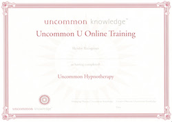 Uncommon Hypnotherapy certificate