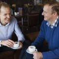 Roger and Mark chatting in the Oban Chocolate Factory