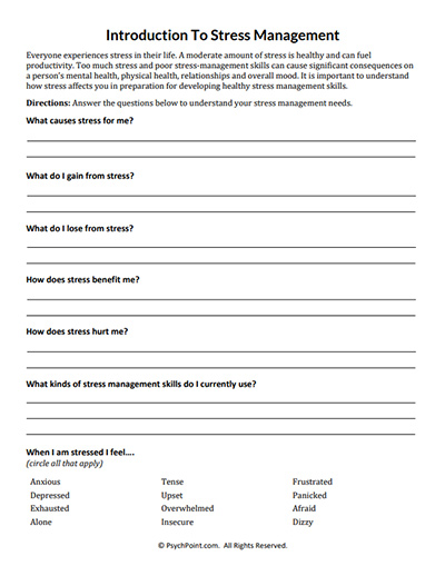 Introduction to stress management worksheet