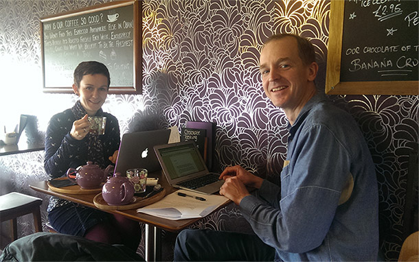 Roger and Lyndsay working from chocolate shop